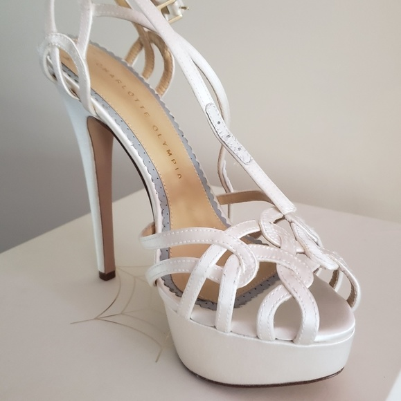 Charlotte Olympia Shoes - Silk satin white sandals